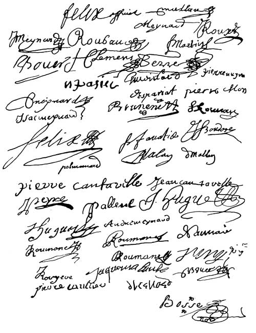 Signatures abjuration collective de Mérindol